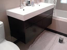 charming black painted floating small ikea bathroom vanity with single sink as decorate in half bathroom furniture designs
