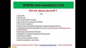 tell me about yourself do s and don ts interview questions