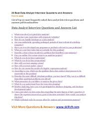 Top 20 Interview Questions 20 Best Data Analyst Interview Questions And Answers Posted