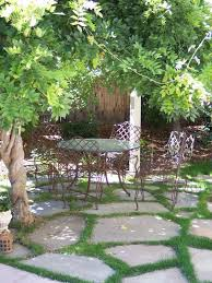 flagstone patio with grass. Image Of Simple Cute Flagstone Patio With Grass Also A Set Vintage Wrought Iron Dining