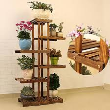 6 tier wooden plant stand indoor outdoor garden planter flower pot stand shelf