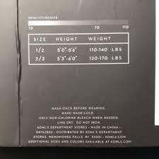 Vera Wang Size Chart Kohl S Simply Vera Wang Fleece Lined Tights In Black