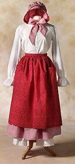 pioneer woman clothing. pioneer trek: clothing patterns skirt, apron, bonnet woman