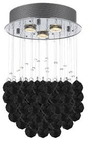 modern crystal raindrop flush chandelier with faceted crystal 3 lights