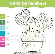 To most parents teaching their kids about numbers there's one number with its written name on each page. Eps Illustration Children Educational Game Coloring Page With Cute Cactus Color By Numbers Printable Activity Vector Clipart Gg101616066 Gograph