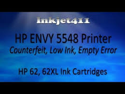 Hp Envy 5548 Printer Low Ink Counterfeit Error Hp 62 Cartridges