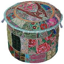 Stylo Culture 40 cm <b>Round Cotton Patchwork</b> Embroidered <b>Pouffe</b> ...