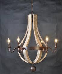 image of interior wine barrel chandelier