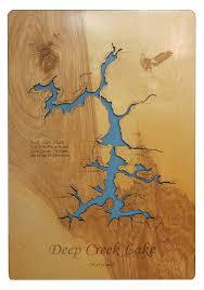 Quemahoning Reservoir Depth Chart Amazon Com Deep Creek Lake Maryland Standout Wood Map Wall