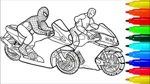You might also be interested in coloring. Spiderman Iron Man On Motorcycles Coloring Pages Colouring Pages For Kids With Colored Markers Youtube