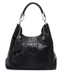 Designer Slouch Bags Carla Ferreri Black Leather Slouch Snake Shoulder Bag
