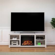 ameriwood furniture edgewood tv console with fireplace for tvs up to 60 ivory pine