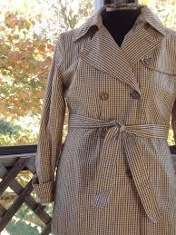 Plaid Rain Coat Womens Brown Trench Vintage Plaid Coat Brown Plaid Cotton Coat And Belt Short Trench Coat Womens Us Size 10 Medium