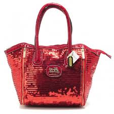 Coach Poppy Blaire In SequIn Signature Small Red Totes ABM