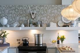 kitchens regal purple wallpaper backsplash in the kitchen