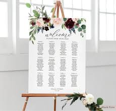 Marsala Wedding Seating Chart Sign Template Printable Floral Seating Chart Poster Watercolor Flowers Seating Board Burgundy Chart Isl 016