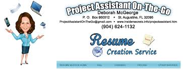 Resume Service Fascinating Deborah McGeorge Project Assistant On The Go Resume Creation