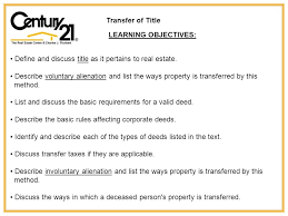 Transfer Of Title Learning Objectives Define And Discuss Title As