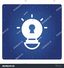 vector square blue icon lighting bulb. Light Bulb And Keyhole Icon In Blue Background Vector Square Lighting S
