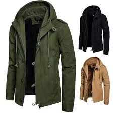 men s winter military trench coat ski jacket hooded thick cotton parka outwear