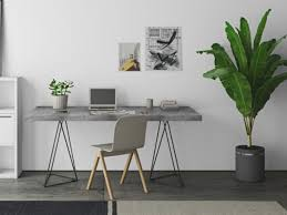 home office home office table. Modern Multi Home Office Table In Concrete Effect Finish With Black Metal Legs A