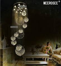 whole best quality brand modern large crystal chandelier light fixture for lobby staircase stairs foyer long spiral crystal light re ceiling lamp