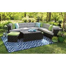 AE Outdoor Canyon 7 Piece All Weather Wicker Patio Sectional with