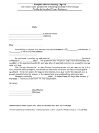 Sample Letter For Security Deposit