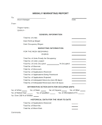 Weekly Marketing Report Template Market Visit Report Template