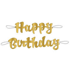 Happy Birthday Signs To Print 3 5 Ft Gold Script Happy Birthday Banner 2pc