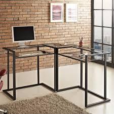 c frame glasetal l shaped computer desk in black