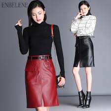 2018 autumn las faux leather skirts paige slim women y straight skirt keep warm winter red black plus size