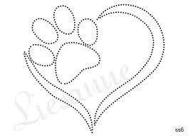 paw and heart design for nail art Mais