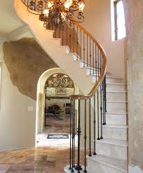 Marble Free Standing Staircase with Red Oak and Iron Rail : #94