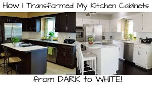 painted white kitchen cabinets before and after. How Paint Kitchen Cabinets From Dark White Light Oak Doors Premium With Grey Countertops Stained Wood Painted Before And After