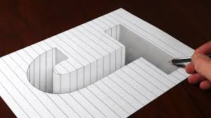 drawing j hole in line paper 3d trick art optical illusion