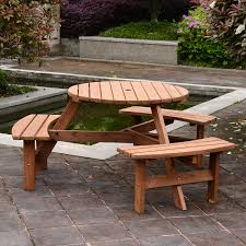 Details about outsunny 6 person fir wood parasol table bench set outdoor garden patio dining