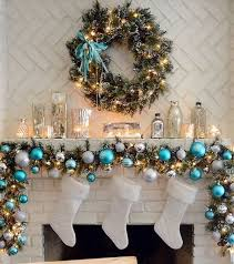 Blue, Blue Christmas Fireplace Decor