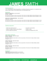 Green Resume Template Microsoft Word File