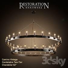 rh camino vintage candelabra two tier chandelier 62