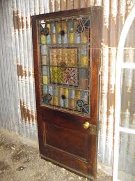 sold early 20th century leaded stained glass door