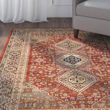 burnt orange area rug round home wool