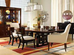 contemporary lighting for dining room. Appealing Orange Furry Rug And Rectangular Black Polished Wooden Dining Table Along With White Contemporary Lighting For Room E