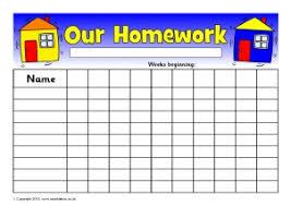 Free Homework Chart Primary Homework Resources Sparklebox
