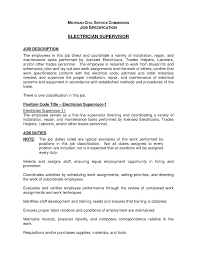 Example Of Job Description For Resume Electrician Technician Job Description Inspirational Electrician 81
