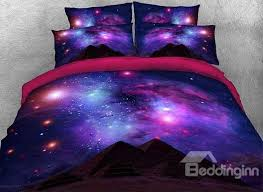 65 onlwe 3d scintillating galaxy and mountain printed 4 piece purple bedding sets duvet covers