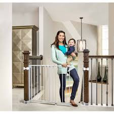 regalo top of stairs baby gate  with banister and wall