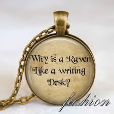 alice in wonderland bronze necklace why is a raven like a writing desk art pendant