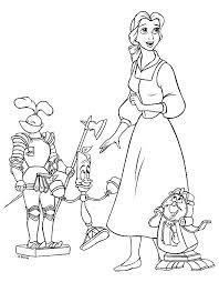 Kleurplaat Belle En Het Beest Belle Tickens En Lumiere Coloring