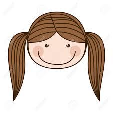 ピグテール髪ベクトル イラストとカラフルな似顔絵正面顔女の子の